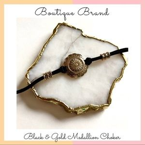 Boutique Brand • Black & Gold Medallion Choker